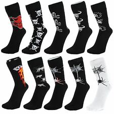 Gothic Style Ankle Socks With Skulls Devils Spiders Bulls (Size: 6-11)