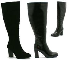 LADIES BLACK SUEDE / PATENT KNEE HIGH BOOTS WOMENS HIGH BLOCK HEEL WINTER SHOES