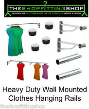 Wall Mounted 25mm Clothes Rail Garment Hanging Rack Display Tube Shops Home