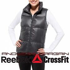 $150 Reebok Women Puffy Vest Down Gilet Padded Isolation Jacket Quilted Top XS S