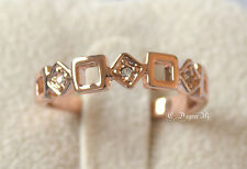 18K Rose Gold GP Squares Thumb Pinky Ring All Size Stackable Celeb Style