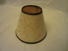 Mini Rustic Paper Chandelier Lamp Shade Textured Paper with Brown Trim