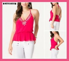 bebe EMBELLISHED HALTER TOP SHIRT BLOUSE SUMMER CLUB SEXY PARTY WOMEN NEW