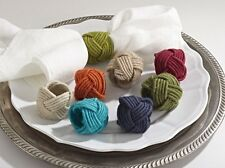 Set of 4 Classic Braided Jute Design Napkin Rings, 8 Colors