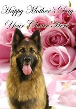 German Shephard Mothers Day Personalised Greeting Card pidmother Mum Mummy