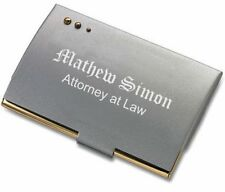 PERSONALIZED BRUSH SATIN SILVER & GOLD BUSINESS CARD HOLDER CUSTOM ENGRAVED FREE