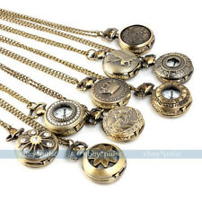 Vintage Bronze Tone Women Men's Pocket Chain Quartz Pendant Watch Necklace GIFT