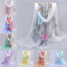 Women Girls Chiffon Floral scrawl Long Soft Wrap Shawl Scarf Scarves New 47