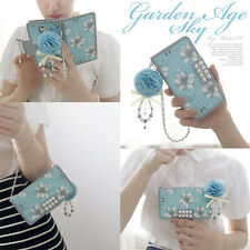 Blue Bling Pearls Flower PU Leather Flip Wallet Case Cover For iPhone & Samsung