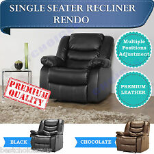 BRAND NEW Recliner Sofa Lounge 1 Seater Armchair Leather Black Chocolate RENDO