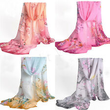 New Womens Girls Chiffon Silk scrawl Long Soft Wrap Shawl Scarf Scarves W049