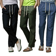 Fashion Mens Relaxed Casual Linen Slacks Sweat Pants Long Breathable Trousers
