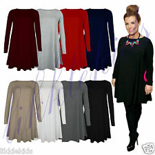 New Womens Ladies Long Sleeve A Line Stretchy Skater Flared Swing Dress Top 8-22