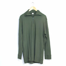New Unissued French Army Surplus Long Sleeve Olive Green Thermal TShirt Top