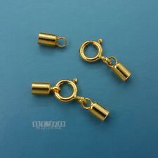 Gold Over Sterling Silver Cord End Cap Connector w/Spring Ring Clasp [2mm / 3mm]
