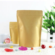 Kraft Paper Bag Pouch Stand Up Resealable Coffee Ziplock Aluminum Foil 13x18.5cm