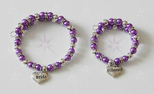 PEARL AND RONDELLE BRACELET WITH WEDDING CHARM BRIDE BRIDESMAID ETC SMALL CHILD