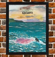Framed Jaws Polish Movie Poster A4 / A3 Size In Black / White Frame