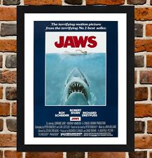 Framed Jaws Movie Poster A4 / A3 Size Mounted In Black / White Frame
