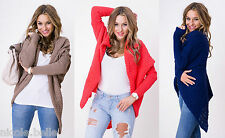 Knitted Warm Soft Women Ladies Cardigan Sweater Cape Top Long 8-14 S M L XL