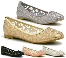 WOMENS FLAT PUMPS LADIES GLITTER BALLET BALLERINA DOLLY BRIDAL SHOES SIZE