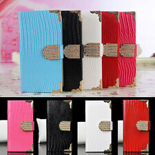 New Luxury Leather Bling Crystal Magnetic Flip Cover Case For Samsung Galaxy US