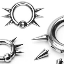 1X 316L Surgical Steel Easy Snap-In Captive Bead Ring CBR Threaded Spikes