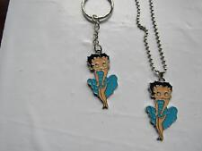 """Betty Boop Blue Dress Necklace With 20"""" Chain or Keychain- Free Shipping"""