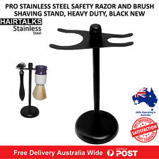 STAINLESS STEEL BARBER HEAVY DUTY SAFETY RAZOR/BRUSH STAND, WEIGHTED BASE, NEW