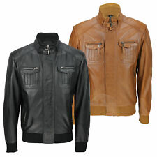 Mens New Black Tan Real Soft Lamb Leather Retro Biker Style Zipped Bomber Jacket