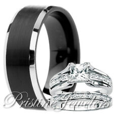 His Black Tungsten Her 925 Sterling Silver Engagement Wedding Ring Mens Womens