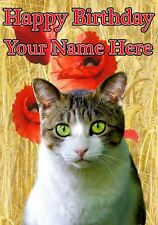 Domestic Cat All Occasions Personalised Greeting Card Birthday PIDCAT2
