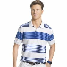 Izod Men's Advantage Heritage Short Sleeve Cotton Awning Striped Polo Shirt