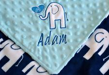 PERSONALIZED BABY BLANKET Elephant baby boy shower gift Premium Plush & Minky