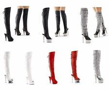 Pleaser ADORE-3019 BEJEWELED-3019 DELIGHT-3019 ILLUSION-3019 Platform Thigh Boot