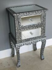 BLACK/SILVER EMBOSSED MIRRORED BEDSIDE CABINET LAMP TABLE  BEDROOM CABINET