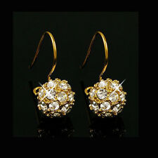 Cute Luxury 18K Yellow gold GP swarovski crystal Gold ball earring earhook