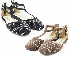 New Women Studded Ankle Strap Ballet Flats Lady Casual Slip On Flat Shoes