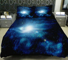 4 PCS Full Size Galaxy Duvet Cover Blue Galaxy Bedding Set Blue Galaxy Bed Sheet