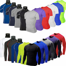 Mens Compression Baselayer Body Armour Thermal Under Shirt Tight Gym Wear Top