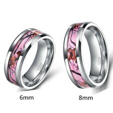 6mm 8mm Tungsten Ring Men's Women's Forest Hunting Camouflage Camo Wedding Band