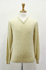 .NWT$1030 Brunello Cucinelli Men's Yellow With Gray 100% Cashmere V-Neck Sweater