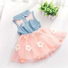 Princess Girls Baby Kids Summer Sleeveless Denim Shirt Tulle Skirt Tutu Dress