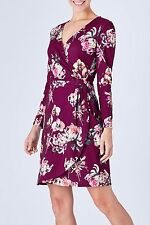 NEW Uttam Boutique Shanghai Blooms Print Jersey Wrap Dress Plum