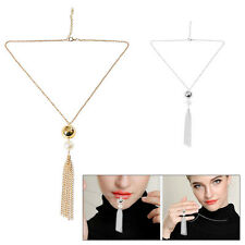 Fashion 1920's Jewelry Pendant Long Sweater Chain Resin Choker Necklace Silver