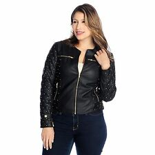 Kate & Mallory Faux Leather Quilt Detailed Zip Front Studded Jacket NWOT