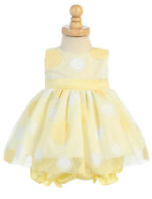 New Baby Girls Infan Polka Dot Yellow Dress Pageant Wedding Easter Bloomers M681