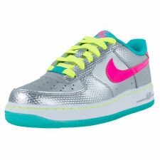 NIKE GIRLS AIR FORCE 1 GS BASKETBALL SHOES METALLIC SILVER HYPER PINK 314219 011