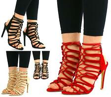 WOMENS LADIES LACE UP HIGH HEELS STILETTO ANKLE STRAPPY CUT OUT SANDALS SIZE NEW