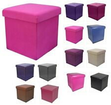 New Folding Storage Pouffe Cube Foot Stool Seat Ottoman Toy Chest Box With Lid